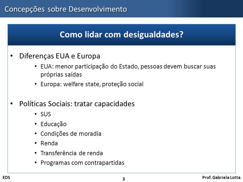 Prof. Gabriela LottaEDS Concepções sobre Desenvolvimento 3 Diferenças EUA e Europa EUA: menor participação do Estado, pessoas devem buscar suas própri