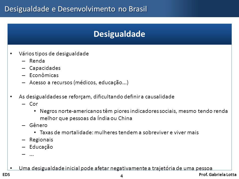 Prof. Gabriela LottaEDS Desigualdade e Desenvolvimento no Brasil 4 Vários tipos de desigualdade – Renda – Capacidades – Econômicas – Acesso a recursos