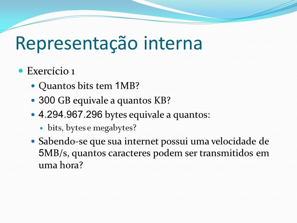 Representação interna Exercício 1 Quantos bits tem 1 MB.