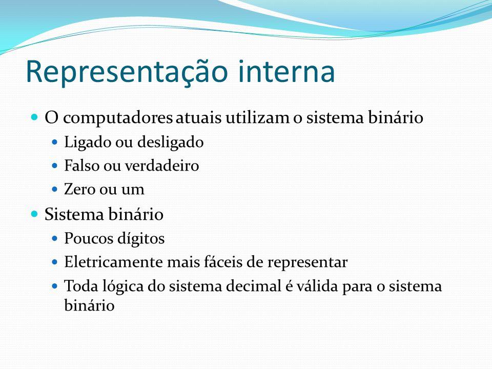 Representação interna O computadores atuais utilizam o sistema binário Ligado ou desligado Falso ou verdadeiro Zero ou um Sistema binário Poucos dígitos Eletricamente mais fáceis de representar Toda lógica do sistema decimal é válida para o sistema binário