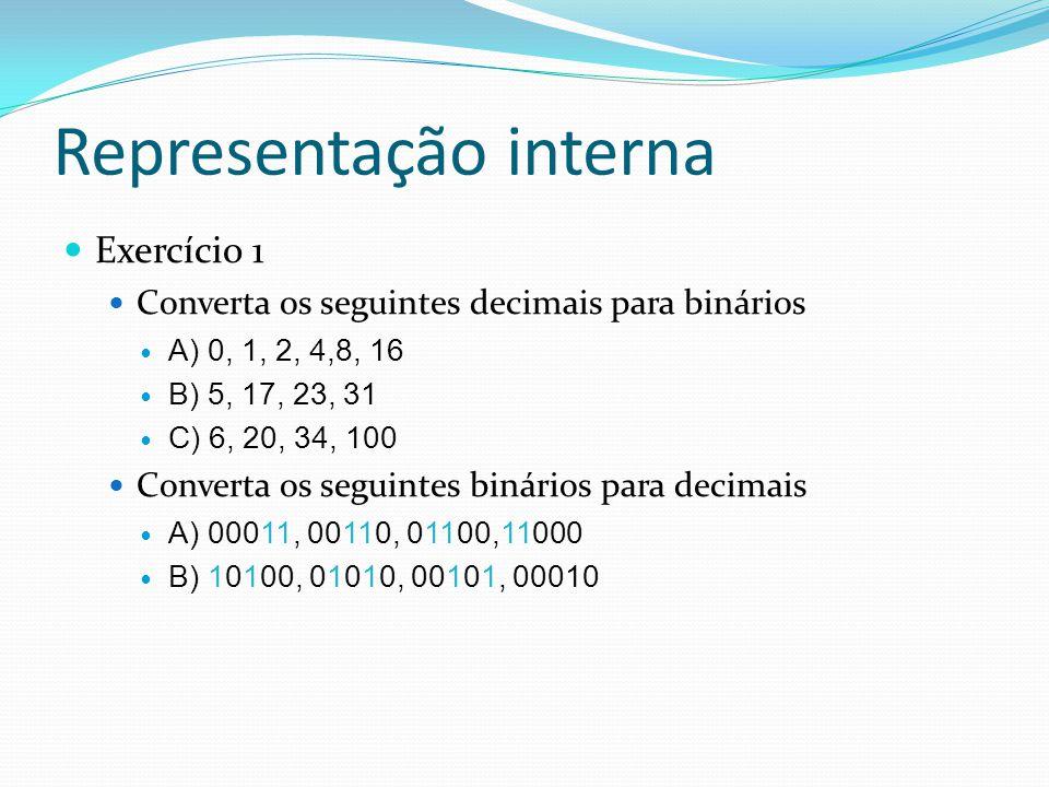 Representação interna Exercício 1 Converta os seguintes decimais para binários A) 0, 1, 2, 4,8, 16 B) 5, 17, 23, 31 C) 6, 20, 34, 100 Converta os seguintes binários para decimais A) 00011, 00110, 01100,11000 B) 10100, 01010, 00101, 00010