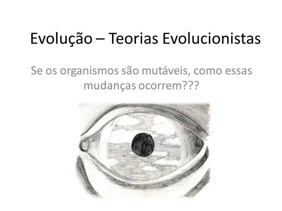 Evolução – Teorias Evolucionistas Se os organismos são mutáveis, como essas mudanças ocorrem???