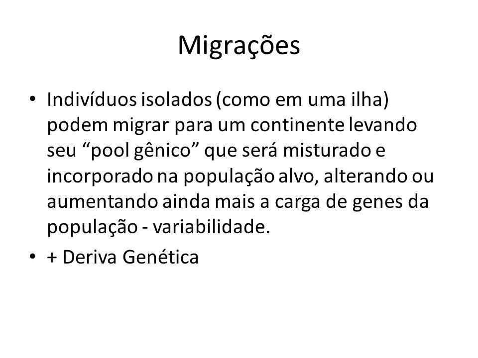 Migrações Indivíduos isolados (como em uma ilha) podem migrar para um continente levando seu pool gênico que será misturado e incorporado na população