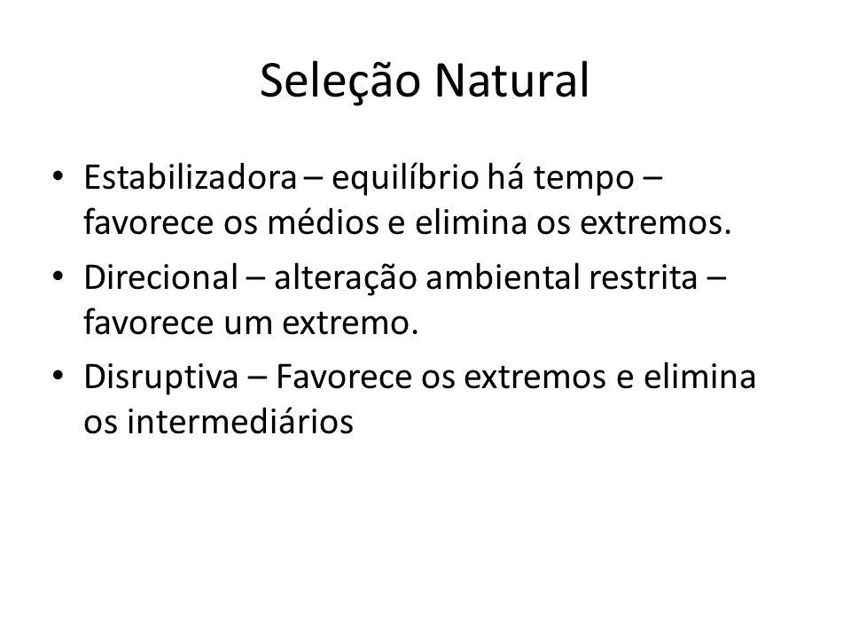 Seleção Natural Estabilizadora – equilíbrio há tempo – favorece os médios e elimina os extremos. Direcional – alteração ambiental restrita – favorece