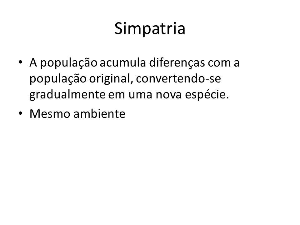 Simpatria A população acumula diferenças com a população original, convertendo-se gradualmente em uma nova espécie. Mesmo ambiente