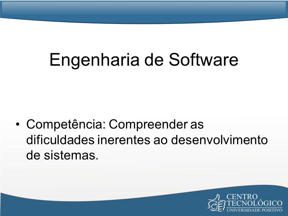 Engenharia de Software Competência: Compreender as dificuldades inerentes ao desenvolvimento de sistemas.