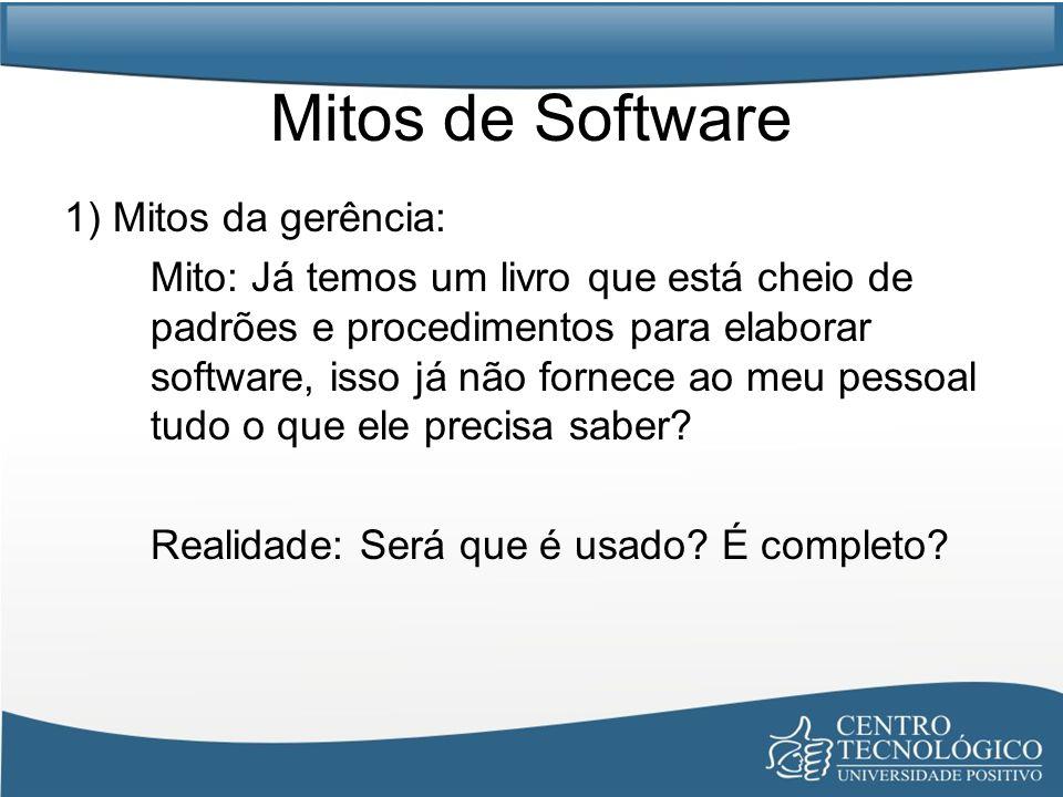 Mitos de Software 1) Mitos da gerência: Mito: Já temos um livro que está cheio de padrões e procedimentos para elaborar software, isso já não fornece