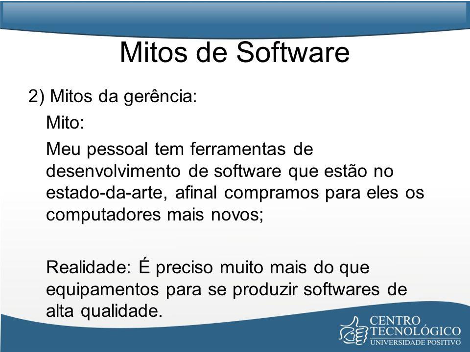 Mitos de Software 2) Mitos da gerência: Mito: Meu pessoal tem ferramentas de desenvolvimento de software que estão no estado-da-arte, afinal compramos