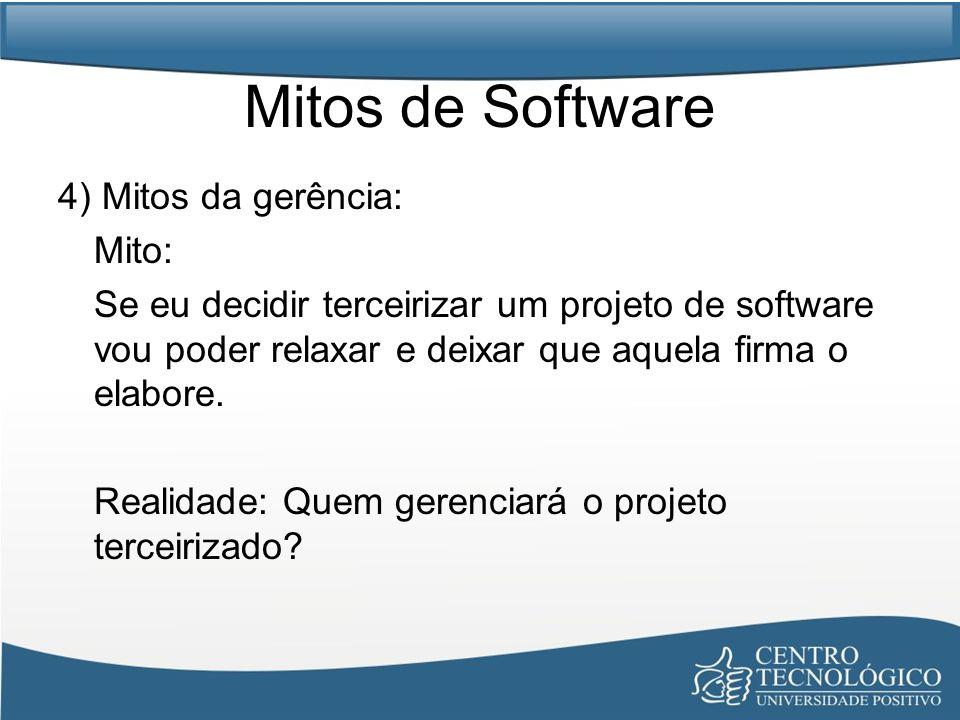 Mitos de Software 4) Mitos da gerência: Mito: Se eu decidir terceirizar um projeto de software vou poder relaxar e deixar que aquela firma o elabore.