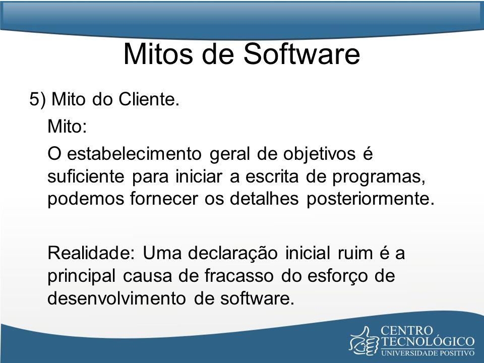 Mitos de Software 5) Mito do Cliente. Mito: O estabelecimento geral de objetivos é suficiente para iniciar a escrita de programas, podemos fornecer os