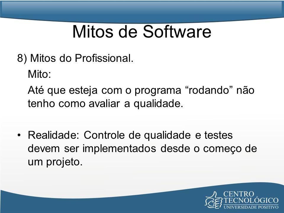 Mitos de Software 8) Mitos do Profissional. Mito: Até que esteja com o programa rodando não tenho como avaliar a qualidade. Realidade: Controle de qua