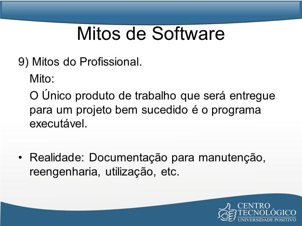 Mitos de Software 9) Mitos do Profissional. Mito: O Único produto de trabalho que será entregue para um projeto bem sucedido é o programa executável.