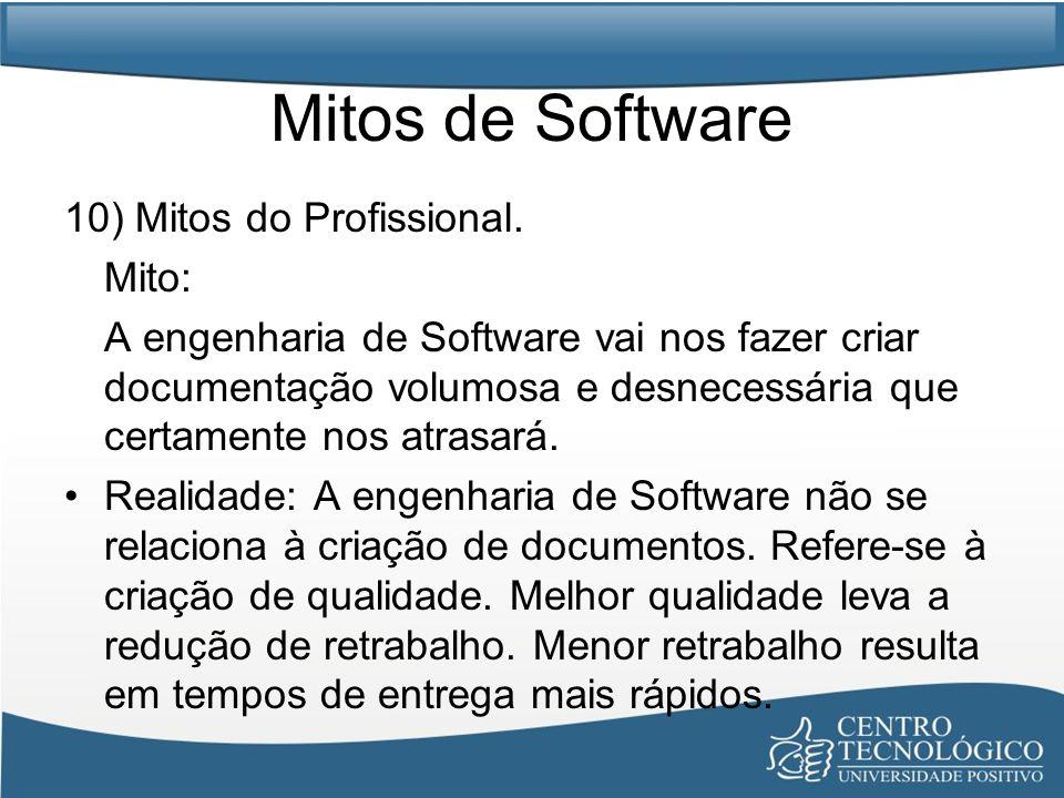 Mitos de Software 10) Mitos do Profissional. Mito: A engenharia de Software vai nos fazer criar documentação volumosa e desnecessária que certamente n