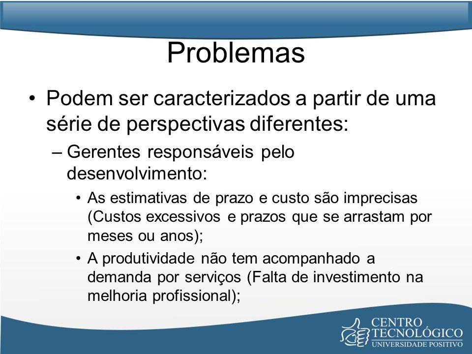 Problemas Podem ser caracterizados a partir de uma série de perspectivas diferentes: –Gerentes responsáveis pelo desenvolvimento: As estimativas de pr