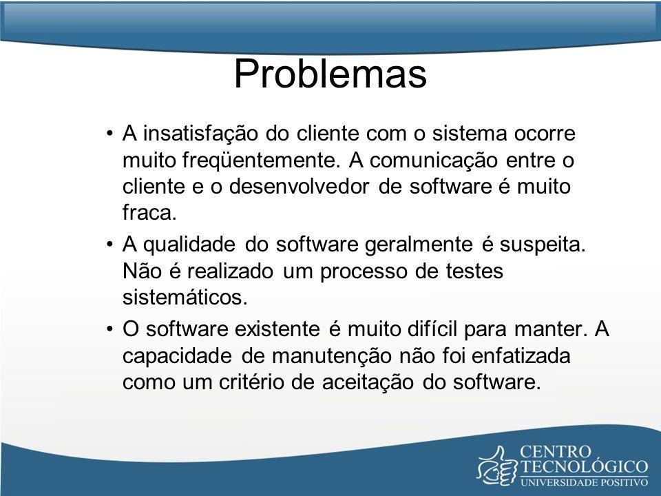 Problemas A insatisfação do cliente com o sistema ocorre muito freqüentemente. A comunicação entre o cliente e o desenvolvedor de software é muito fra