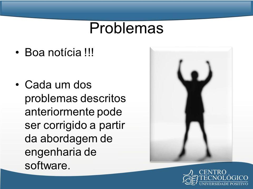 Problemas Boa notícia !!! Cada um dos problemas descritos anteriormente pode ser corrigido a partir da abordagem de engenharia de software.
