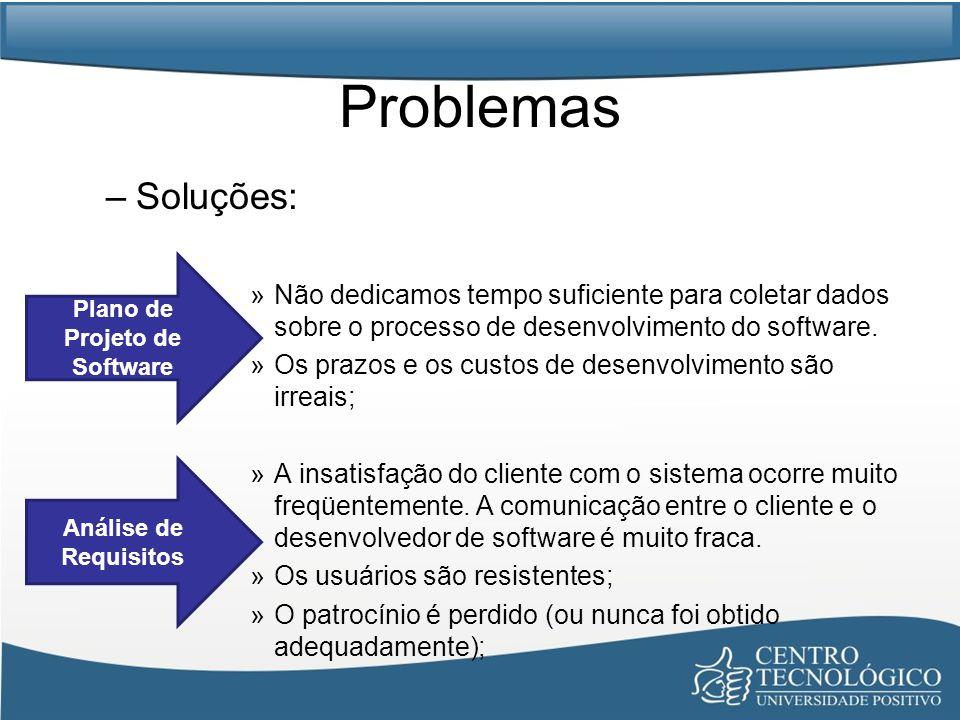 Problemas –Soluções: »Não dedicamos tempo suficiente para coletar dados sobre o processo de desenvolvimento do software. »Os prazos e os custos de des