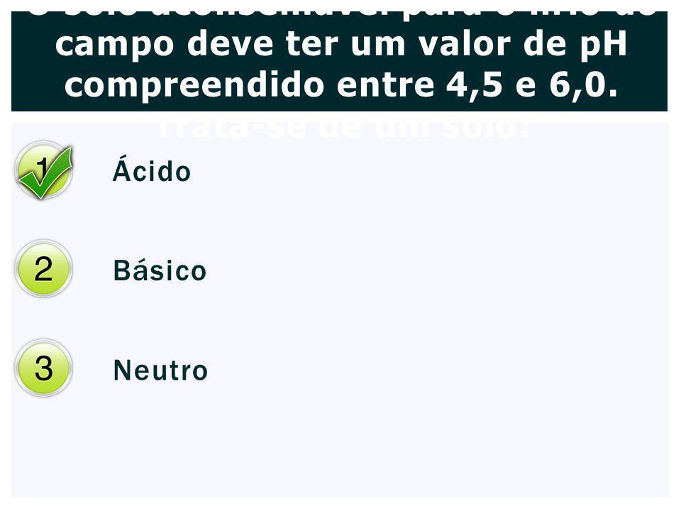 O solo aconselhável para o lírio do campo deve ter um valor de pH compreendido entre 4,5 e 6,0. Trata-se de um solo: Ácido Básico Neutro