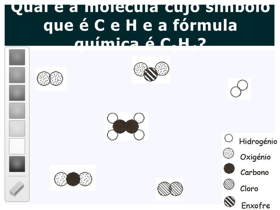 Qual é a molécula cujo símbolo que é C e H e a fórmula química é C 2 H 4 ?