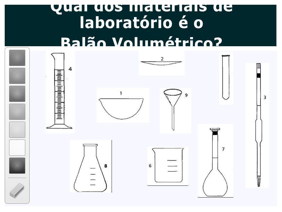 Qual dos materiais de laboratório é o Balão Volumétrico?