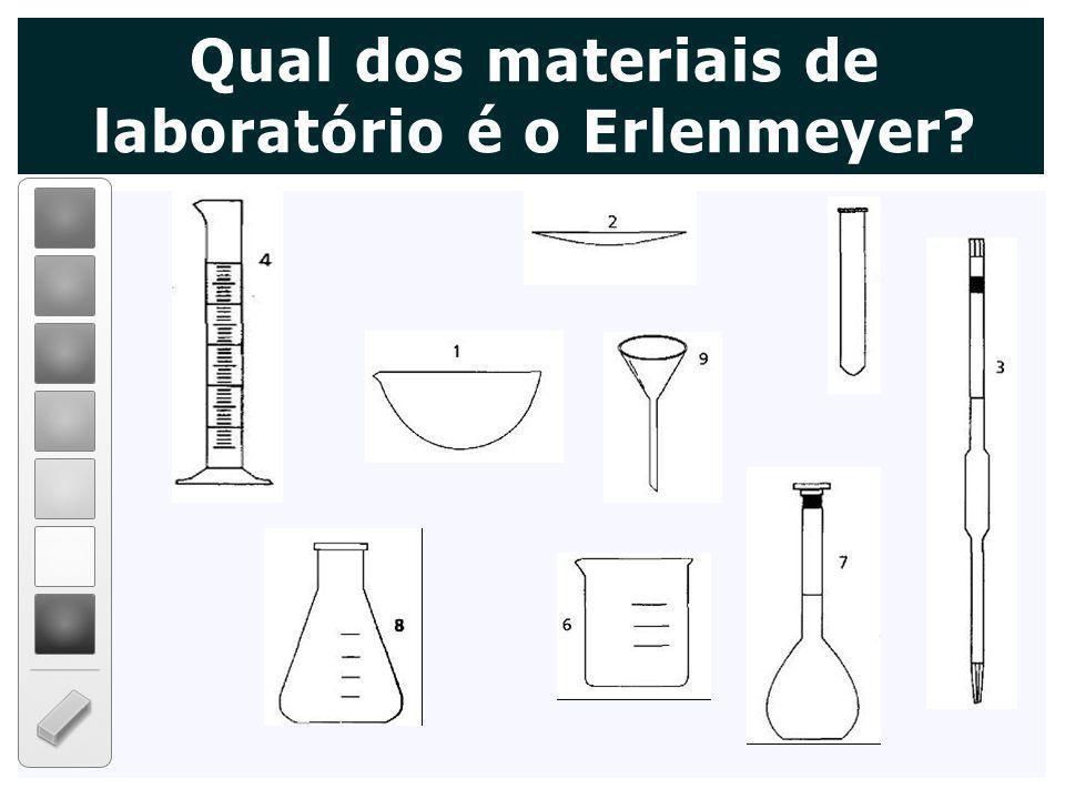 Qual dos materiais de laboratório é o Erlenmeyer?