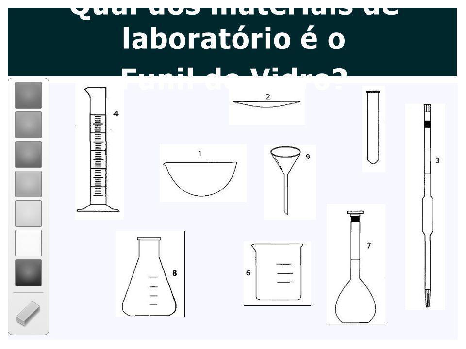 Qual dos materiais de laboratório é o Funil de Vidro?