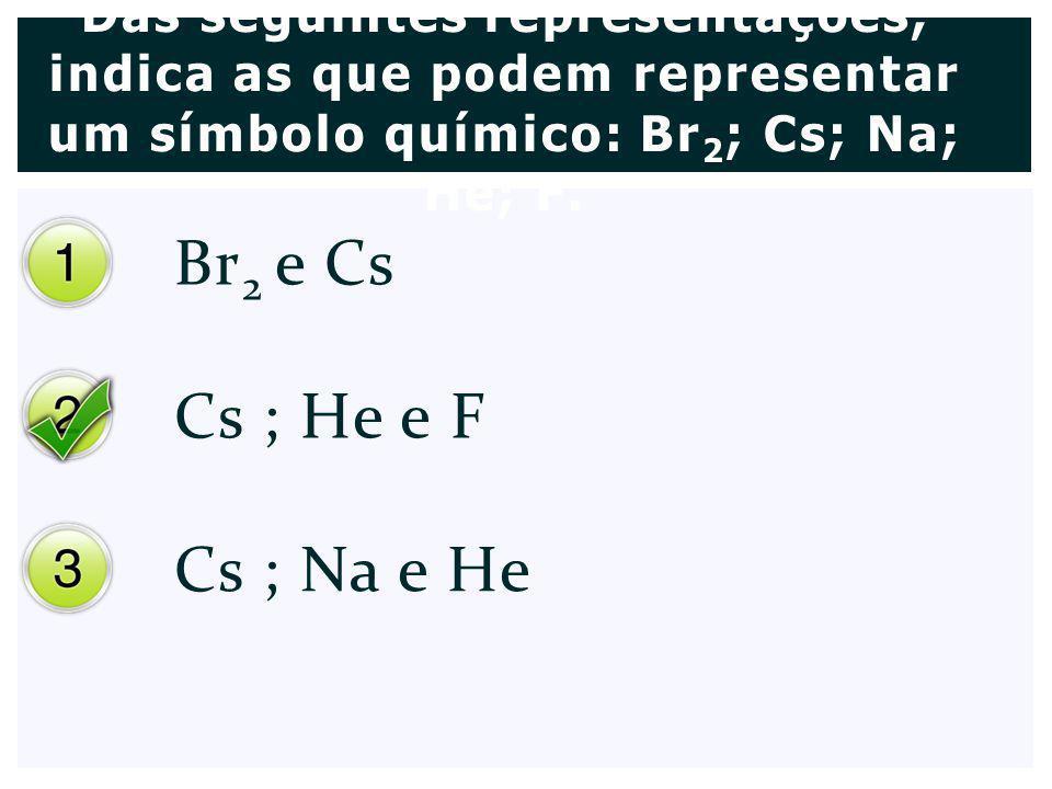 Br 2 e Cs Cs ; He e F Cs ; Na e He Das seguintes representações, indica as que podem representar um símbolo químico: Br 2 ; Cs; Na; He; F.