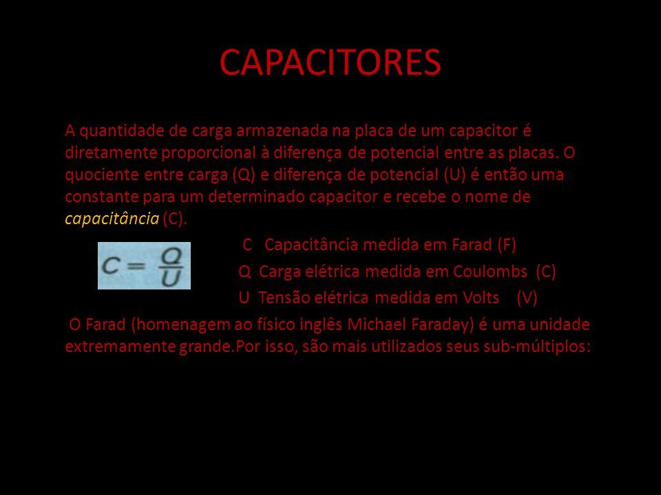 CAPACITORES C - Capacitância medida em Farad F - Constante de proporcionalidade F/m A - área das armaduras m² d - distância entre as armaduras m