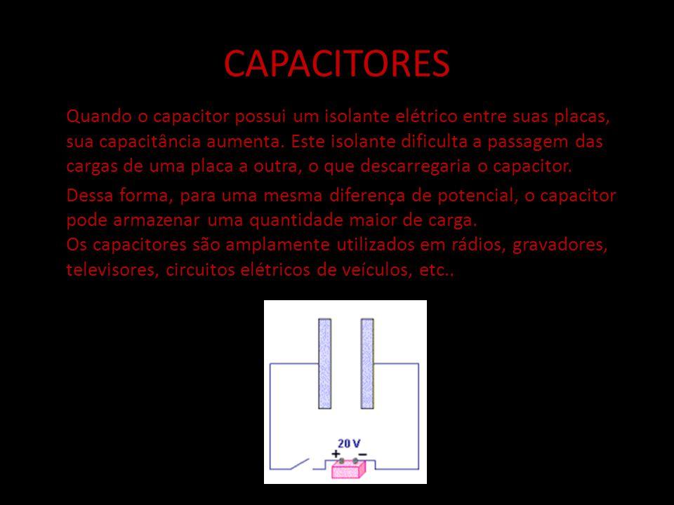 CAPACITORES Quando o capacitor possui um isolante elétrico entre suas placas, sua capacitância aumenta. Este isolante dificulta a passagem das cargas