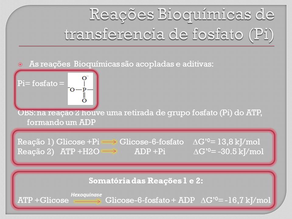 As reações Bioquímicas são acopladas e aditivas: Pi= fosfato = OBS: na reação 2 houve uma retirada de grupo fosfato (Pi) do ATP, formando um ADP Reação 1) Glicose +Pi Glicose-6-fosfato G 0 = 13,8 kJ/mol Reação 2) ATP +H2OADP +Pi G 0 = -30.5 kJ/mol Somatória das Reações 1 e 2: ATP +GlicoseGlicose-6-fosfato + ADP G 0 = -16,7 kJ/mol Hexoquinase