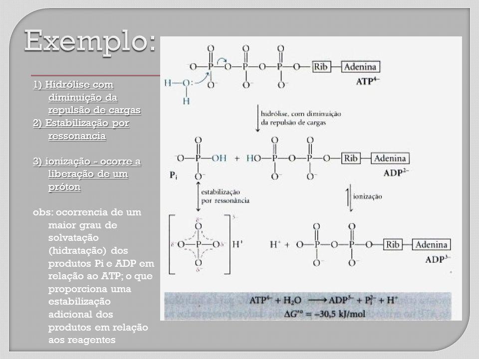 1) Hidrólise com diminuição da repulsão de cargas 2) Estabilização por ressonancia 3) ionização - ocorre a liberação de um próton obs: ocorrencia de um maior grau de solvatação (hidratação) dos produtos Pi e ADP em relação ao ATP; o que proporciona uma estabilização adicional dos produtos em relação aos reagentes