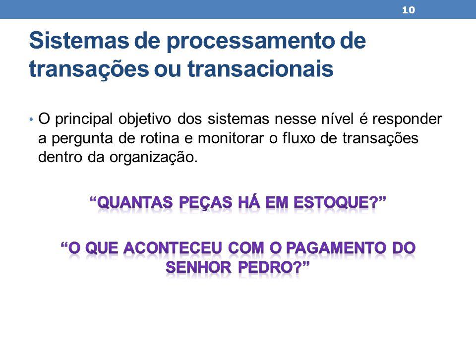 Sistemas de processamento de transações ou transacionais 10