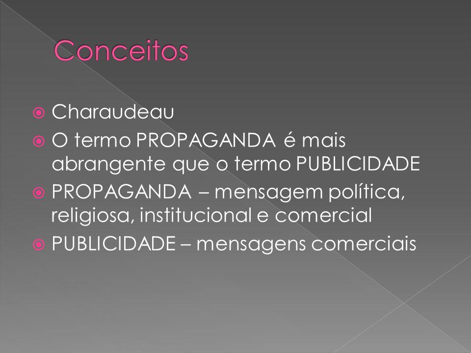 Charaudeau O termo PROPAGANDA é mais abrangente que o termo PUBLICIDADE PROPAGANDA – mensagem política, religiosa, institucional e comercial PUBLICIDA