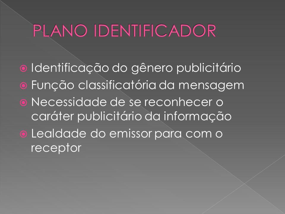Identificação do gênero publicitário Função classificatória da mensagem Necessidade de se reconhecer o caráter publicitário da informação Lealdade do