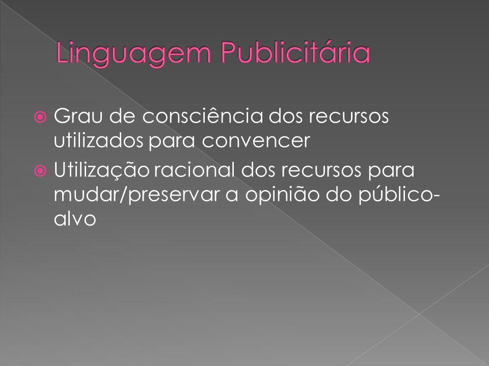 Grau de consciência dos recursos utilizados para convencer Utilização racional dos recursos para mudar/preservar a opinião do público- alvo