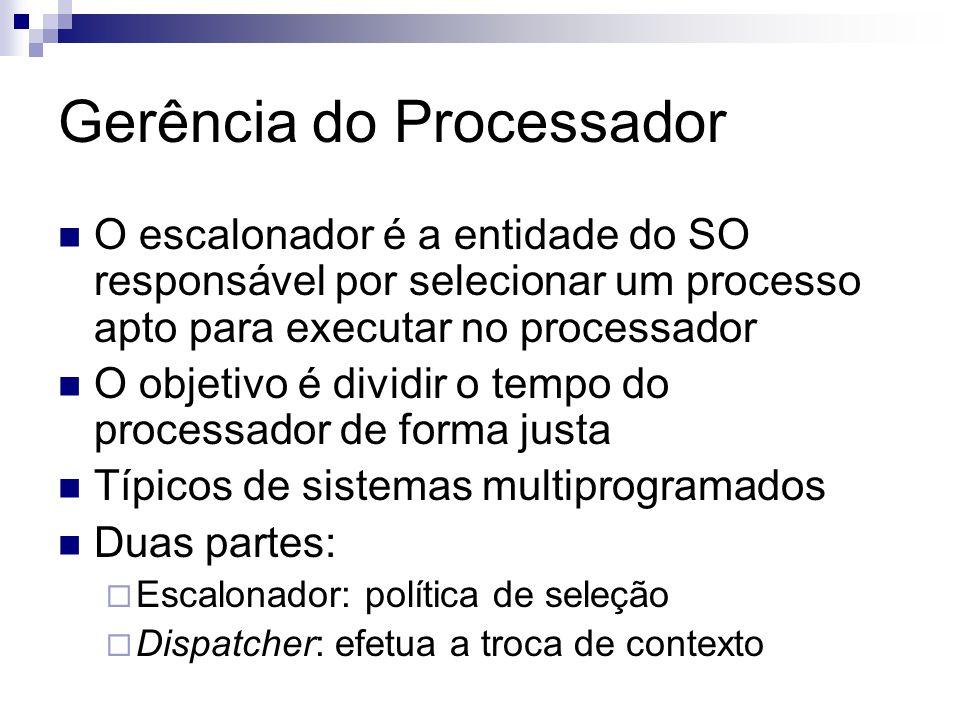 Gerência do Processador O escalonador é a entidade do SO responsável por selecionar um processo apto para executar no processador O objetivo é dividir