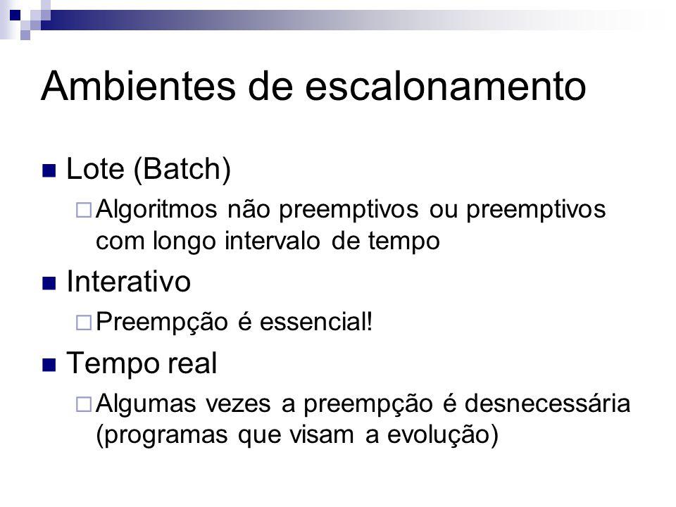 Ambientes de escalonamento Lote (Batch) Algoritmos não preemptivos ou preemptivos com longo intervalo de tempo Interativo Preempção é essencial! Tempo