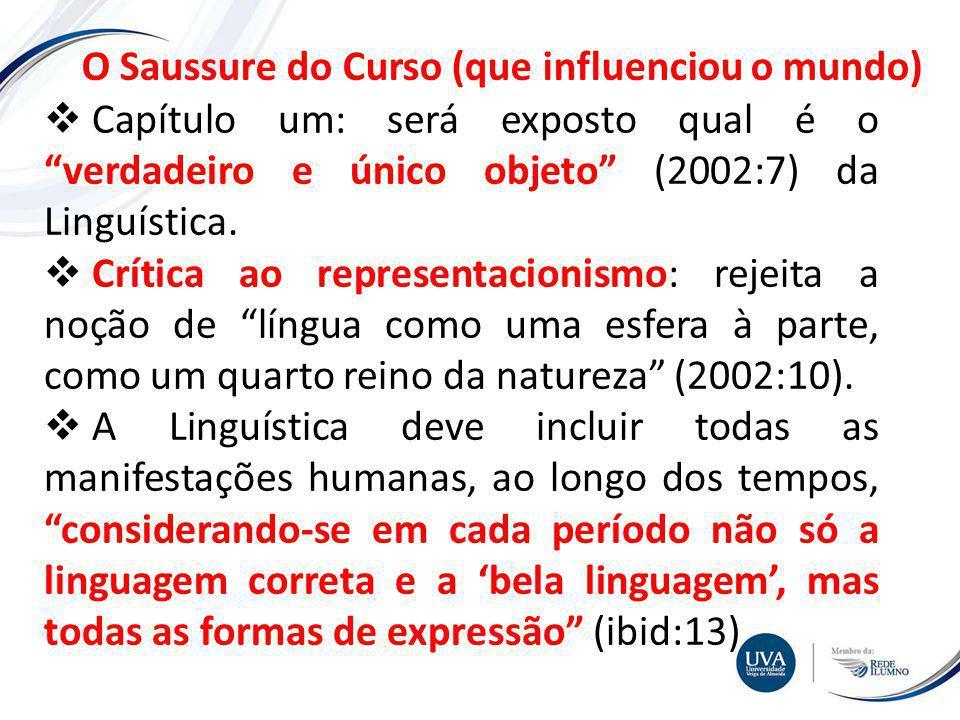 TÓPICO XXX Textos e imagens O Saussure do Curso (que influenciou o mundo) Capítulo um: será exposto qual é o verdadeiro e único objeto (2002:7) da Linguística.