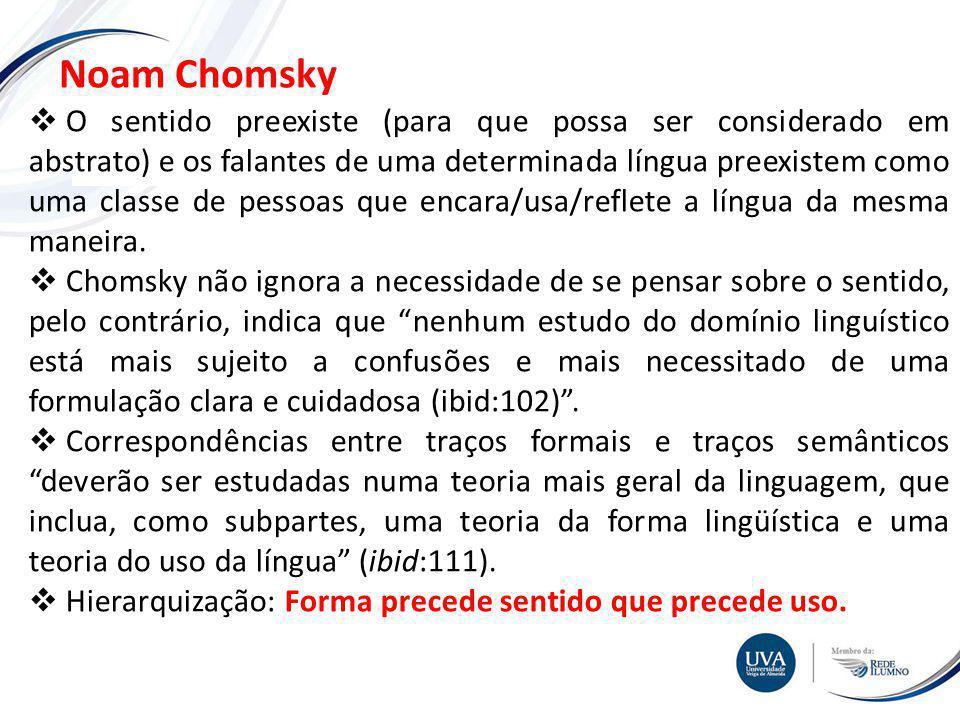 TÓPICO XXX Textos e imagens Noam Chomsky O sentido preexiste (para que possa ser considerado em abstrato) e os falantes de uma determinada língua preexistem como uma classe de pessoas que encara/usa/reflete a língua da mesma maneira.