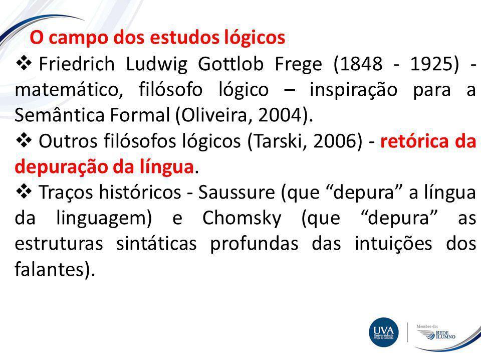 TÓPICO XXX Textos e imagens O campo dos estudos lógicos Friedrich Ludwig Gottlob Frege (1848 - 1925) - matemático, filósofo lógico – inspiração para a Semântica Formal (Oliveira, 2004).