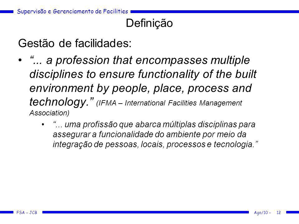 Supervisão e Gerenciamento de Facilities FSA – JCB Definição Gestão de facilidades:... a profession that encompasses multiple disciplines to ensure fu