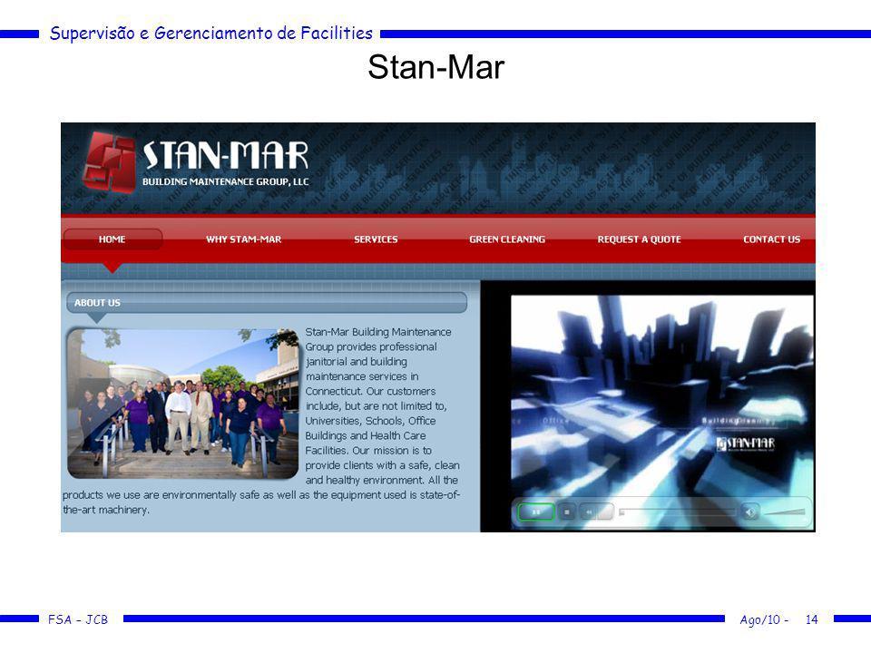 Supervisão e Gerenciamento de Facilities FSA – JCB Stan-Mar Ago/10 -14