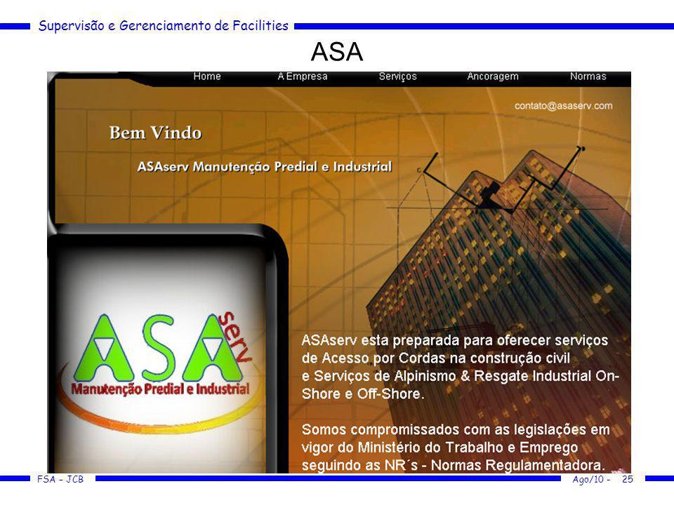 Supervisão e Gerenciamento de Facilities FSA – JCB ASA Ago/10 -25
