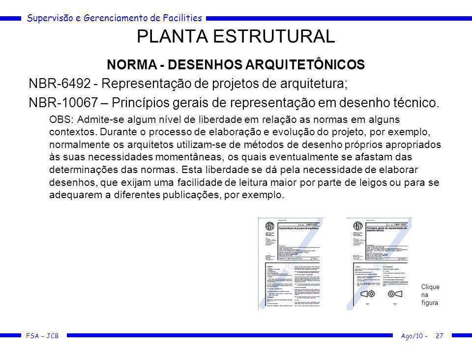 Supervisão e Gerenciamento de Facilities FSA – JCB PLANTA ESTRUTURAL NORMA - DESENHOS ARQUITETÔNICOS NBR-6492 - Representação de projetos de arquitetu
