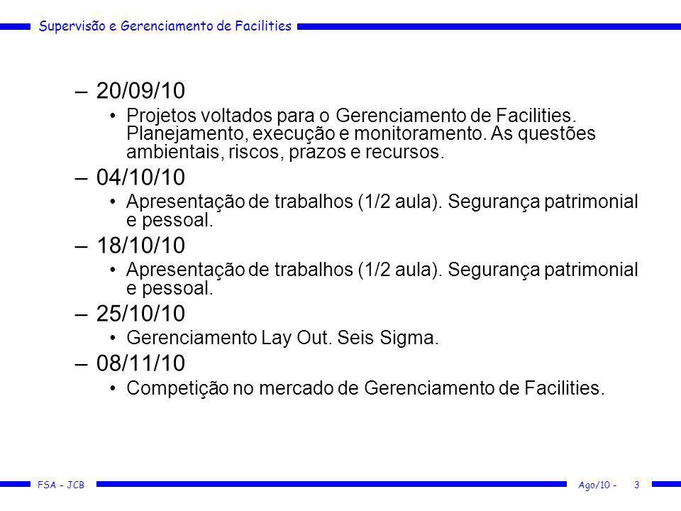 Supervisão e Gerenciamento de Facilities FSA – JCB –20/09/10 Projetos voltados para o Gerenciamento de Facilities. Planejamento, execução e monitorame