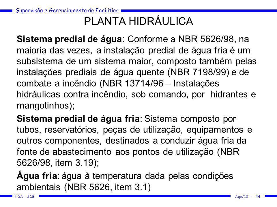Supervisão e Gerenciamento de Facilities FSA – JCB Sistema predial de água: Conforme a NBR 5626/98, na maioria das vezes, a instalação predial de água