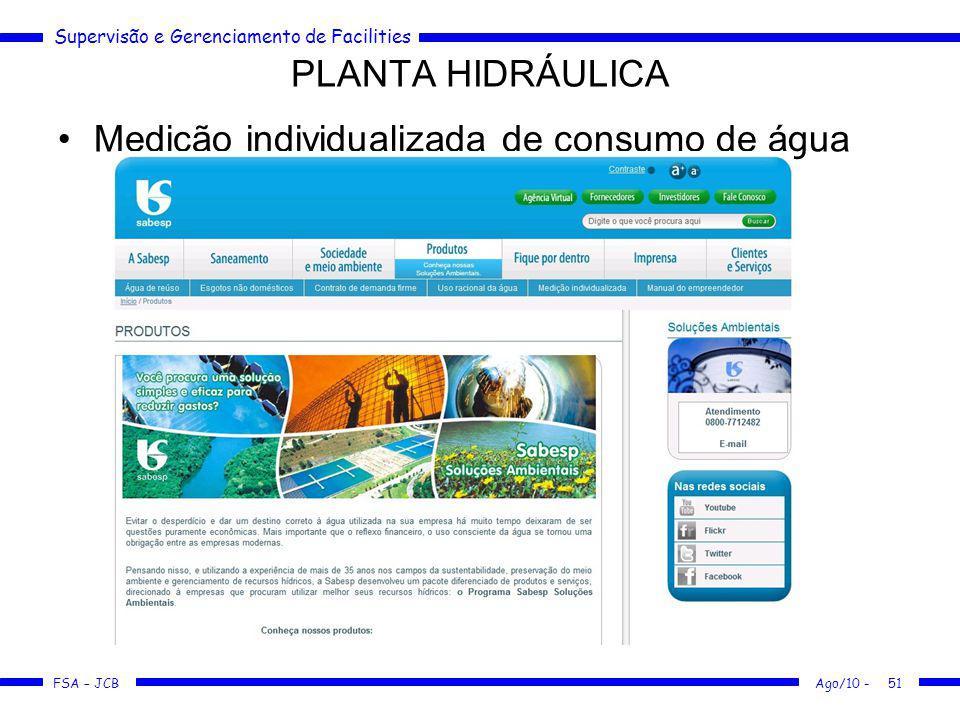 Supervisão e Gerenciamento de Facilities FSA – JCB Medição individualizada de consumo de água PLANTA HIDRÁULICA Ago/10 -51