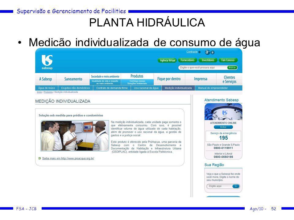 Supervisão e Gerenciamento de Facilities FSA – JCB Medição individualizada de consumo de água PLANTA HIDRÁULICA Ago/10 -52
