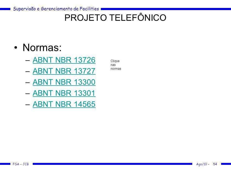 Supervisão e Gerenciamento de Facilities FSA – JCB Ago/10 -54 Normas: –ABNT NBR 13726ABNT NBR 13726 –ABNT NBR 13727ABNT NBR 13727 –ABNT NBR 13300ABNT