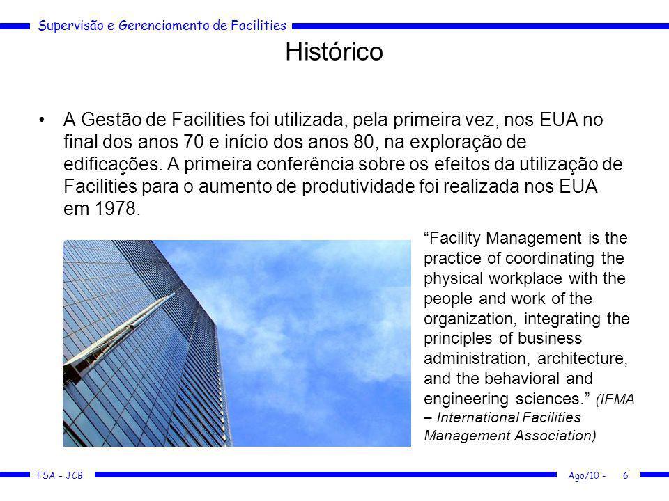 Supervisão e Gerenciamento de Facilities FSA – JCB Ago/10 -6 Histórico A Gestão de Facilities foi utilizada, pela primeira vez, nos EUA no final dos a
